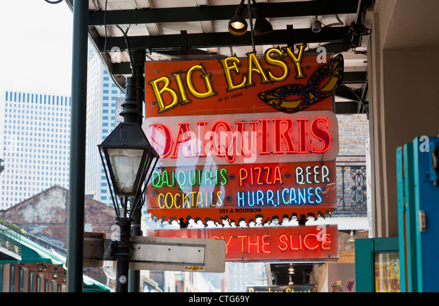 Neon sign advertising the Big Easy bar in the French Quarter of New Orleans, LA - Stock Image