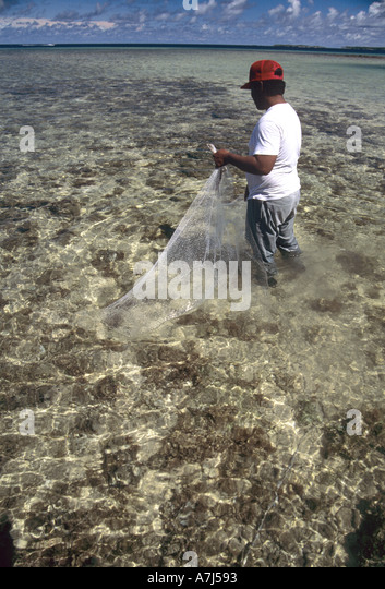 net fisherman in the Marshall Islands Western Pacific - Stock Image