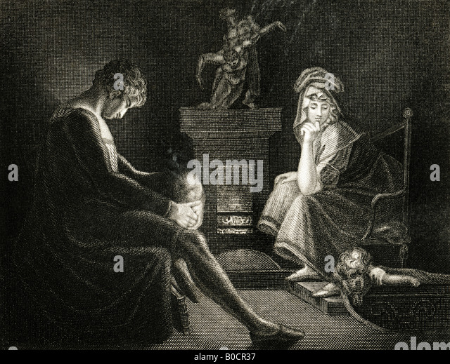 19th Century engraving Print of Silence 1835 from a painting by J A Fuseli RA from John Milton's Il Penseroso - Stock-Bilder