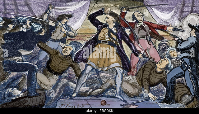 'Fight on a Pirate Ship', print. Pirates fighting with swords on the deck of a ship. Colourised version. - Stock Image
