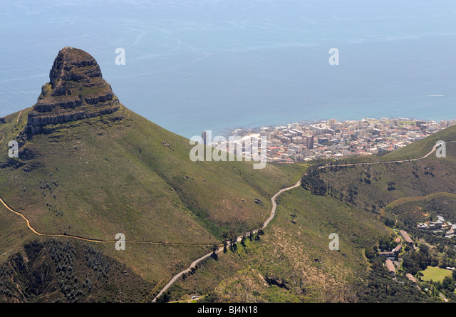 View from Table Mountain on Mt. Lion's Head and the Sea Point suburb, Cape Town, Western Cape, South Africa, - Stock Image