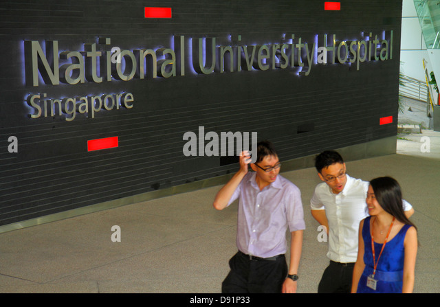 Singapore National University of Singapore NUS school student campus National University Hospital Asian man woman - Stock Image