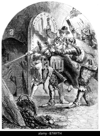 The Arrest of Guy Fawkes in the Cellar of the Houses of Parliament The Gunpowder Plot 1605 - Stock Image