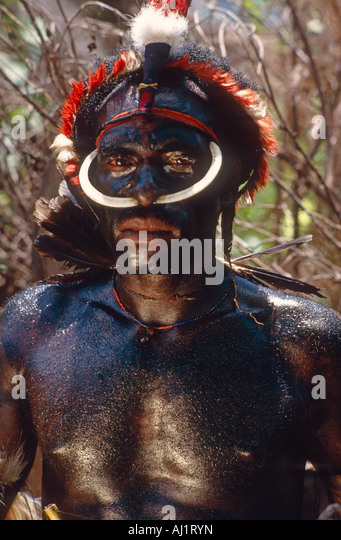 Dani warrior, dressed for battle. Irian Jaya, Indonesia - Stock Image