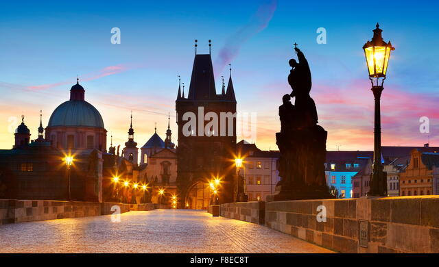 Charles Bridge skyline, Prague Old Town city, Czech Republic, UNESCO - Stock Image
