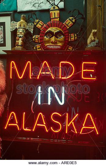 Alaska Juneau South Franklin Street Made In Alaska neon sign Tlingit Native American crafts - Stock Image