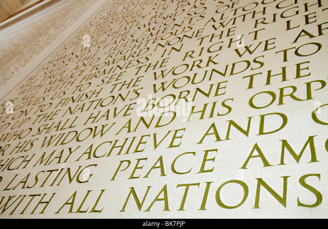 Washington DC West Potomac Park National Mall and Memorial Parks Lincoln Memorial 1922 interior President Abraham - Stock Image