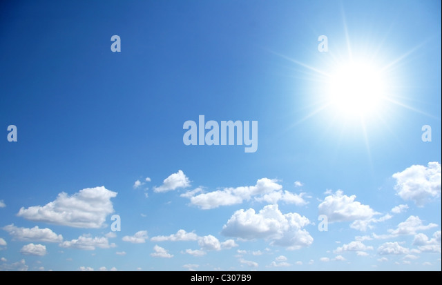 Bly sunny sky with small clouds - Stock Image