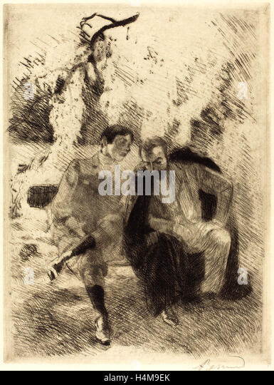 Albert Besnard, Confidences, French, 1849-1934, 1900, etching - Stock-Bilder