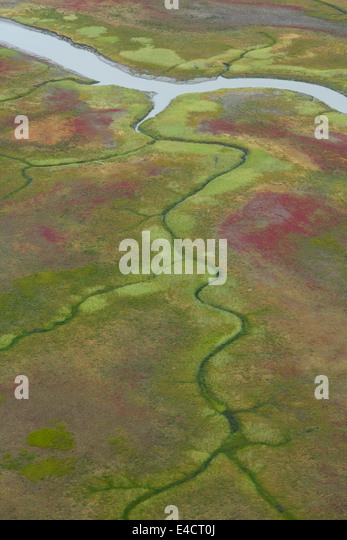 Aerial view of mud flat along Cook Inlet, Alaska. - Stock-Bilder