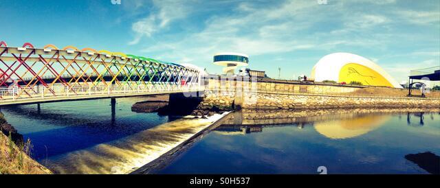 Bridge to Niemeyer Center in Aviles, Asturias - Spain - Stock Image