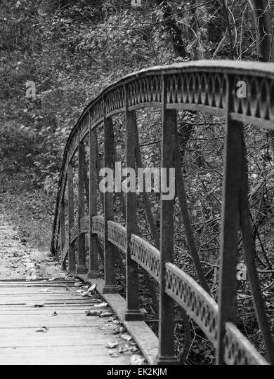 Nostalgic old metal bridge in nature environment - Stock Image