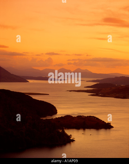 Loch Alsh and the Isle of Skye from Carr Brae at dusk, Highland, Scotland, UK - Stock-Bilder