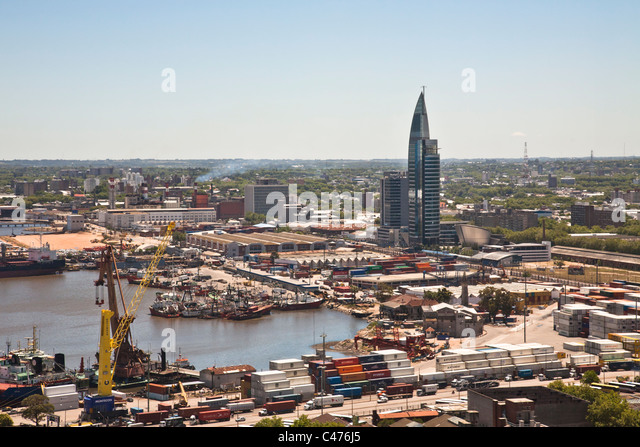 Montevideo Harbour and ANTEL Tower, Uruguay - Stock Image