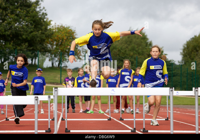 kids at athletics camp - Stock Image