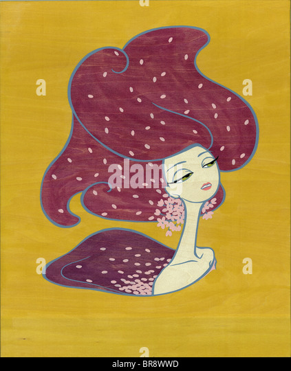 A painting on a wood canvas of a woman with robust purple hair - Stock-Bilder