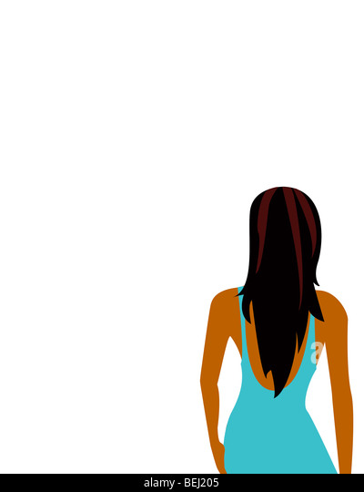 Back view of woman, illustration - Stock-Bilder