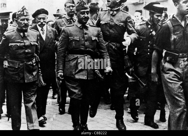 General Franco in Burgos with General Mola during the Spanish Civil War - Stock Image