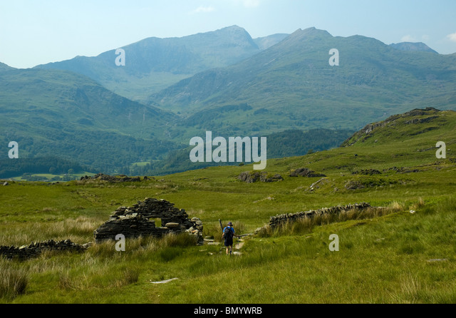 The Snowdon group of mountains from the south, Snowdonia, North Wales, UK - Stock Image