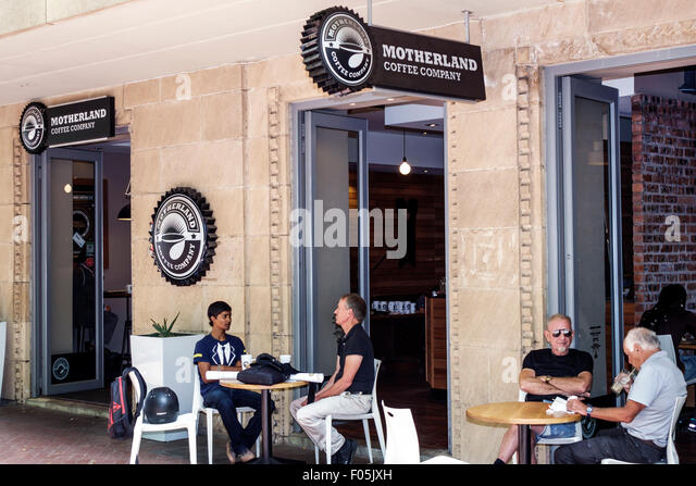 South Africa African Cape Town City Centre center Saint St. Georges Mall Motherland Coffee Company cafe restaurant - Stock Image