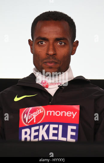​​​London, UK 24 April 2016.  Ethiopia's Belele during the Virgin Money London Marathon winners press confrence.​ - Stock Image