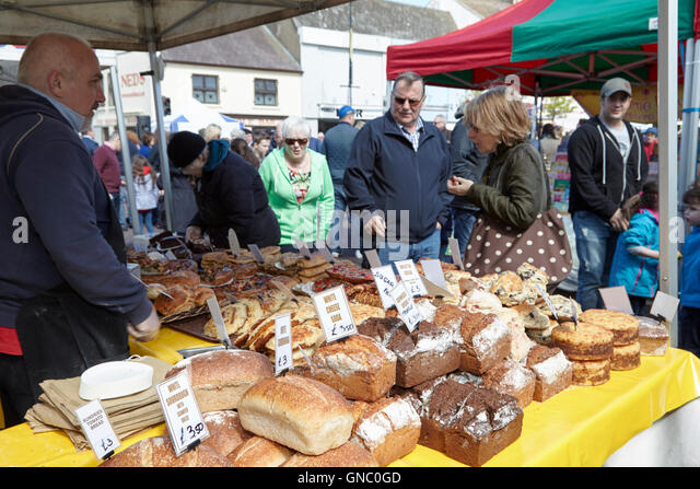 artisan breads stall at a food market in northern ireland - Stock Image