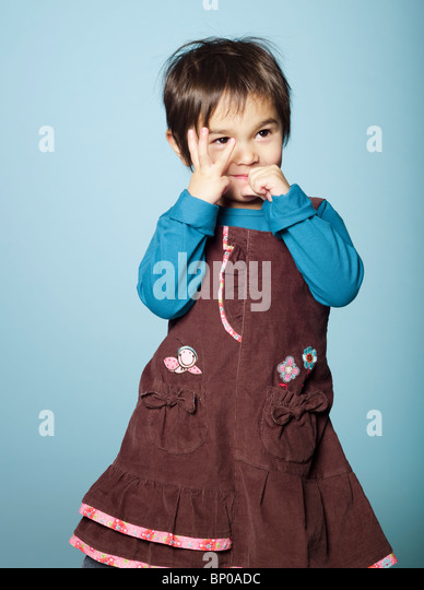 Shy little girl - Stock Image