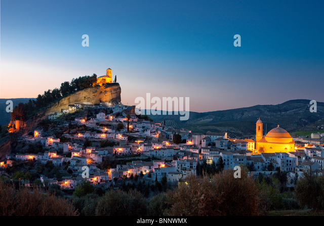 Andalusia Spain Montefrio hill town city evening travel traveling tourism vacation holidays - Stock-Bilder