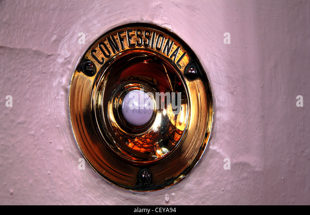 Catholic Confessional bell at St Wilfrids Catholic Church CW9 5NP CW95NP - Stock Image