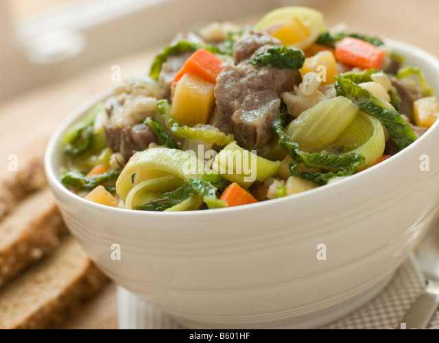 Bowl of Irish Stew with Soda Bread - Stock Image