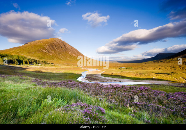 Glencoe. View towards Rannoch Moor, River Coupall in foreground, Beinn a' Chrulaiste on left. Highland, Scotland, - Stock Image