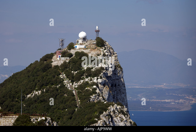 Communication antennas and masts on the summit of the Rock of Gibraltar Gibraltar communication communications com - Stock Image
