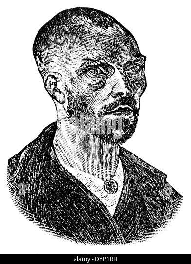 Vincent van Gogh (1853-1890), post-Impressionist painter, illustration from Soviet encyclopedia, 1927 - Stock Image