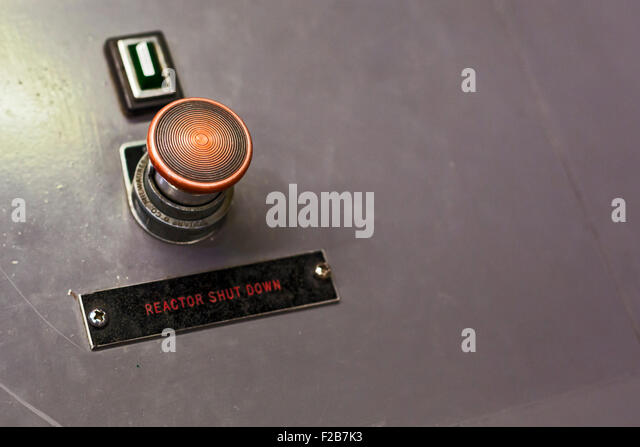 Arco, Idaho - The SCRAM or emergency reactor shutdown button in the control room of the Experimental Breeder Reactor - Stock Image