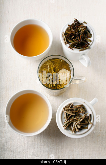 Assorted white teas - Stock Image