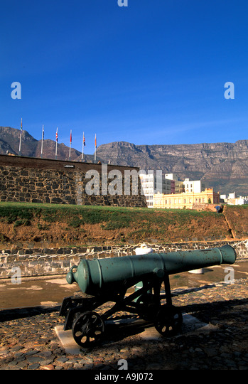 South Africa Cape Town Castle of Good Hope cannon and flags - Stock Image