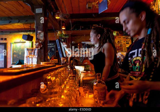 staff in the bar Znama firma, Zizkov, Prague Czech Republic - Stock Image