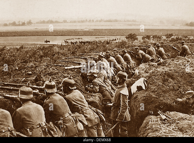German Infantry in a trench during WW1 - Stock-Bilder