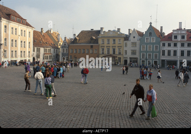 Estonia Tallin Old Town historic district Town Hall residents - Stock Image
