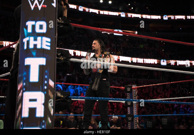 WWE performer Roman Regins prepares for a wrestling match during the 14th Annual Tribute to the Troops Event at - Stock Image