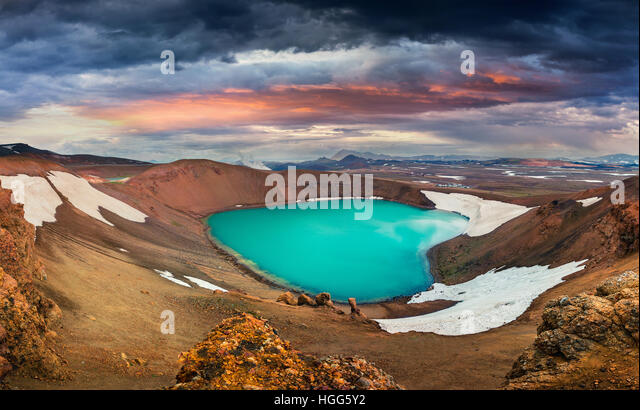 Colorful summer scene with crater pool of Krafla volcano. Dramatic sunset in the Northeast Iceland, Myvatn lake - Stock Image