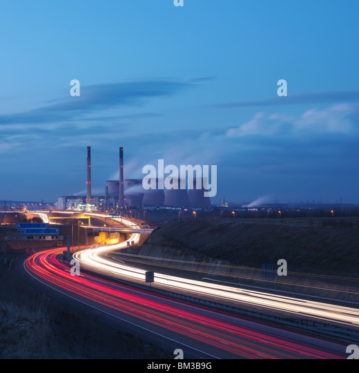 Coal Fired Power Station With Motorway - Stock Image