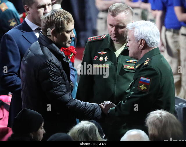 Moscow, Russia. 2nd Mar, 2017. Russia's Deputy Defence Minister Nikolai Pankov and CSKA sports club head Mikhail - Stock Image