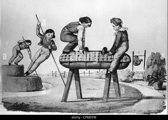 Doing gymnastics around 1850 - Stock Image