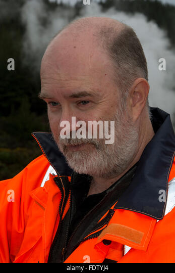 Dr. Greg Bignall is the leading scientist for geothermal energy in New Zealand's geological science institute - Stock Image
