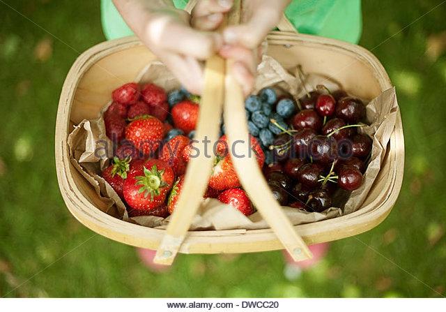 Garden trug of assorted berries - Stock Image