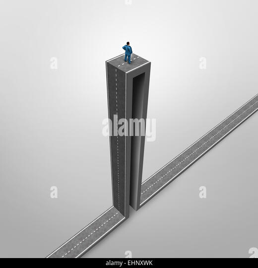Career opportunity problem business concept as a stranded businessman on a road with an extreme high angle as a - Stock-Bilder