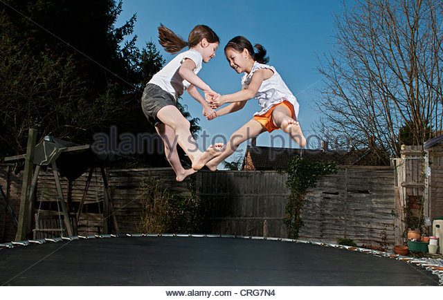 girls nude jumping on trampolines