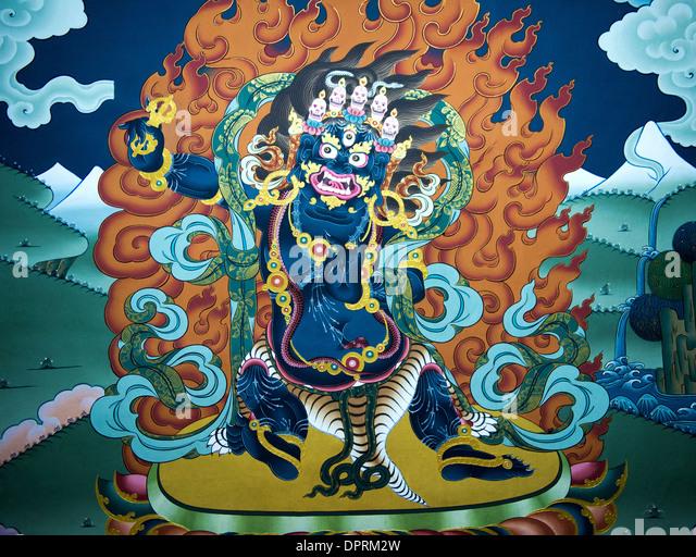 Mural paintings of motifs from the buddhist mythology in the Trashi Chhoe Dzong or Thimphu Dzong, Thimphu, Bhutan - Stock Image