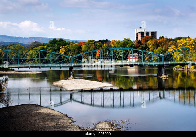Steel Bridge Over Susquehanna River in South Washington St. Bridge Binghamton, Broome County Southern Tier Region, - Stock Image